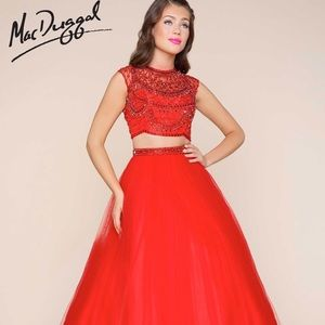 MacDuggal EUC two piece red prom/pageant dress
